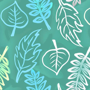 Turquoise sketched leaves_repeat