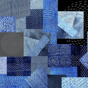 denim patchwork boro stitching-indigo-royal-light-medium blues-gray black