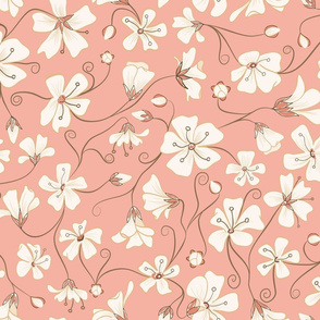 Ditsy White Flowers - Pink and Brown-Large