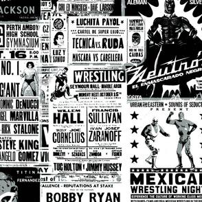 wrestling black and white