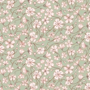 Ditsy White Flowers - Green and Pink-Tiny