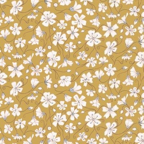 Ditsy White Flowers - Mustard and Gray-Tiny