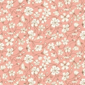 Ditsy White Flowers - Pink and Brown-Tiny