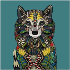WOLF teal pillow panel
