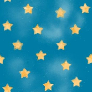 Our Lady of Lourdes Smudgy Watercolor Stars on Blue
