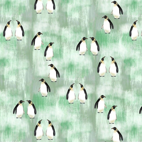 Emperor Penguins on green ice