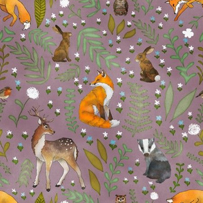 Woodland Animals - Dusty Heather