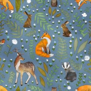 Woodland Animals - Indigo