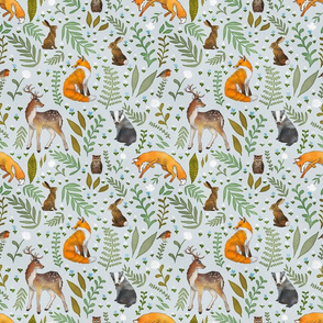 Woodland Animals - Pebble Grey