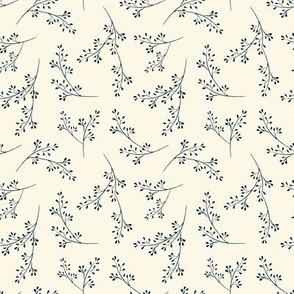 "Cotswold sprig - blue _ cream  (4"")"