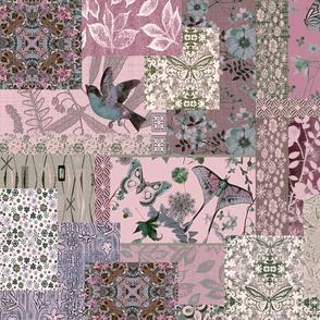 patchwork bird pink garden