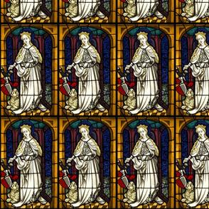 Saint Margaret 1400s stained glass window Swatch Sized