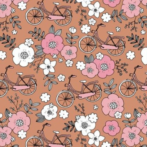 Little boho bicycle garden vintage romantic flower blossom and leaves spring summer design girls pink rust white