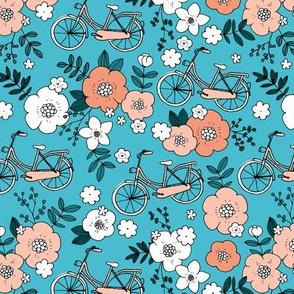 Little boho bicycle garden vintage romantic flower blossom and leaves spring summer design girls aqua blue peach orange