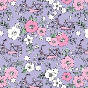 Little boho bicycle garden vintage romantic flower blossom and leaves spring summer design girls lilac purple pink mint