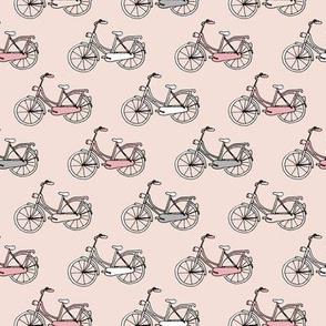 Sweet vintage bike ride bicycles in pastel pink blush girls