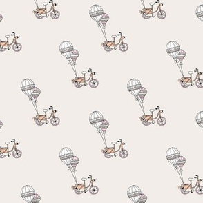 Sweet bicycle dreams girls bike and balloons illustration design link beige blush
