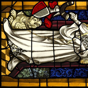 Saint Margaret 1400s stained glass window Fat Quart Sized