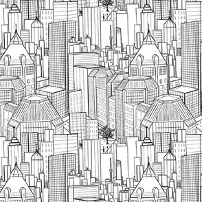 City Living Black And White Small motif