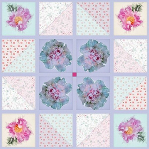 Peony Faux Quilt Top in Springtime Hues II