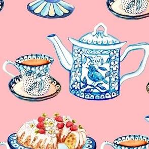 Jane Austen tea and cake large pink for Laurel