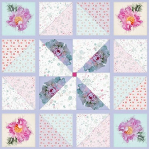Large Peony Pinwheel Quilt Top in Springtime Hues I