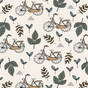 Little boho bicycle garden vintage style leaves and branches forest summer day design neutral green beige rust