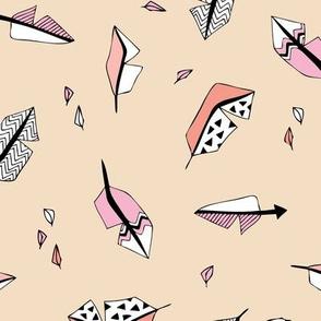 Indian bird feathers in geometric scandinavian style ink beige pink peach girls
