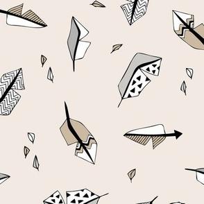 Indian bird feathers in geometric scandinavian style ink beige sand gray neutral  baby nursery