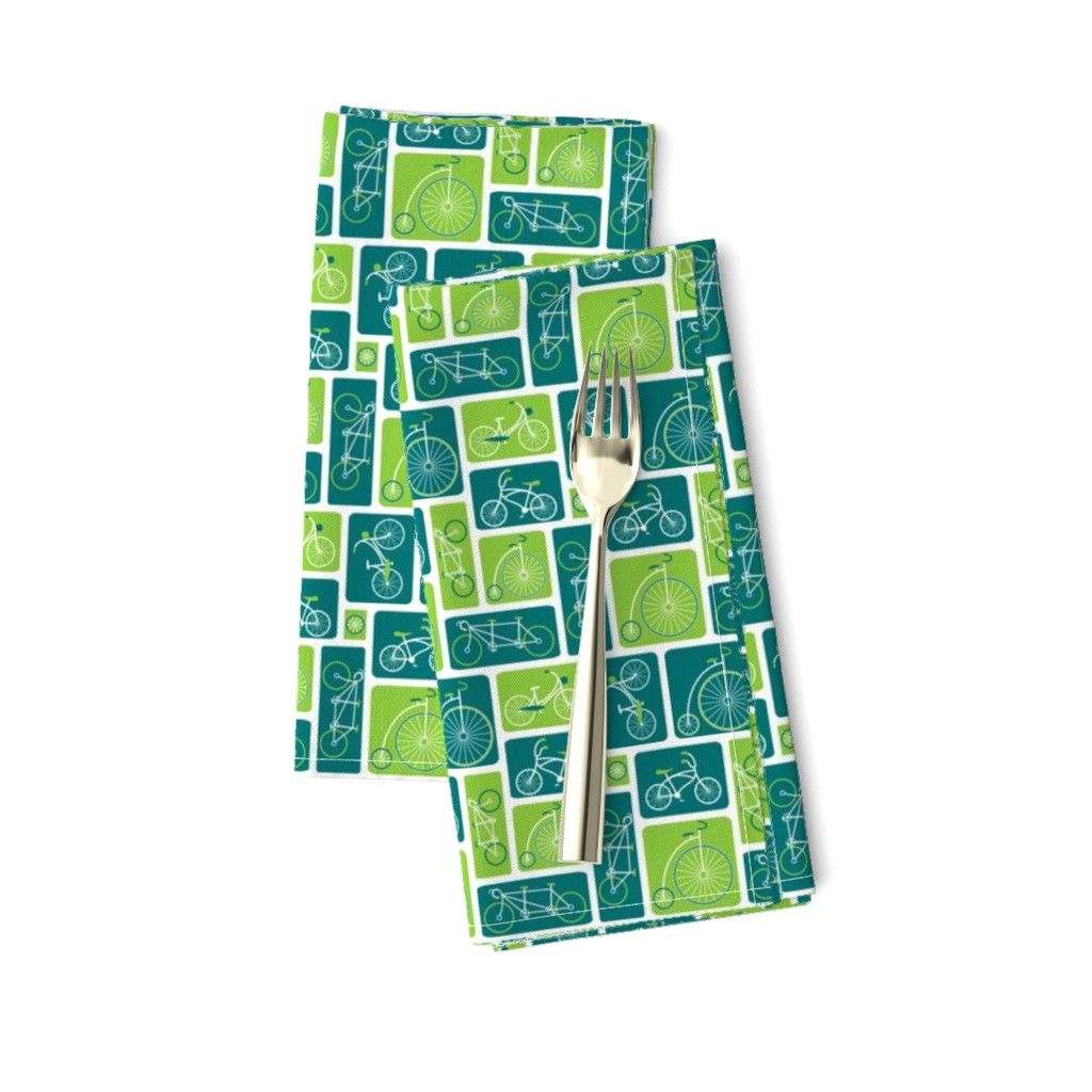 Amarela Dinner Napkins featuring Retro green bicycle love by ebygomm