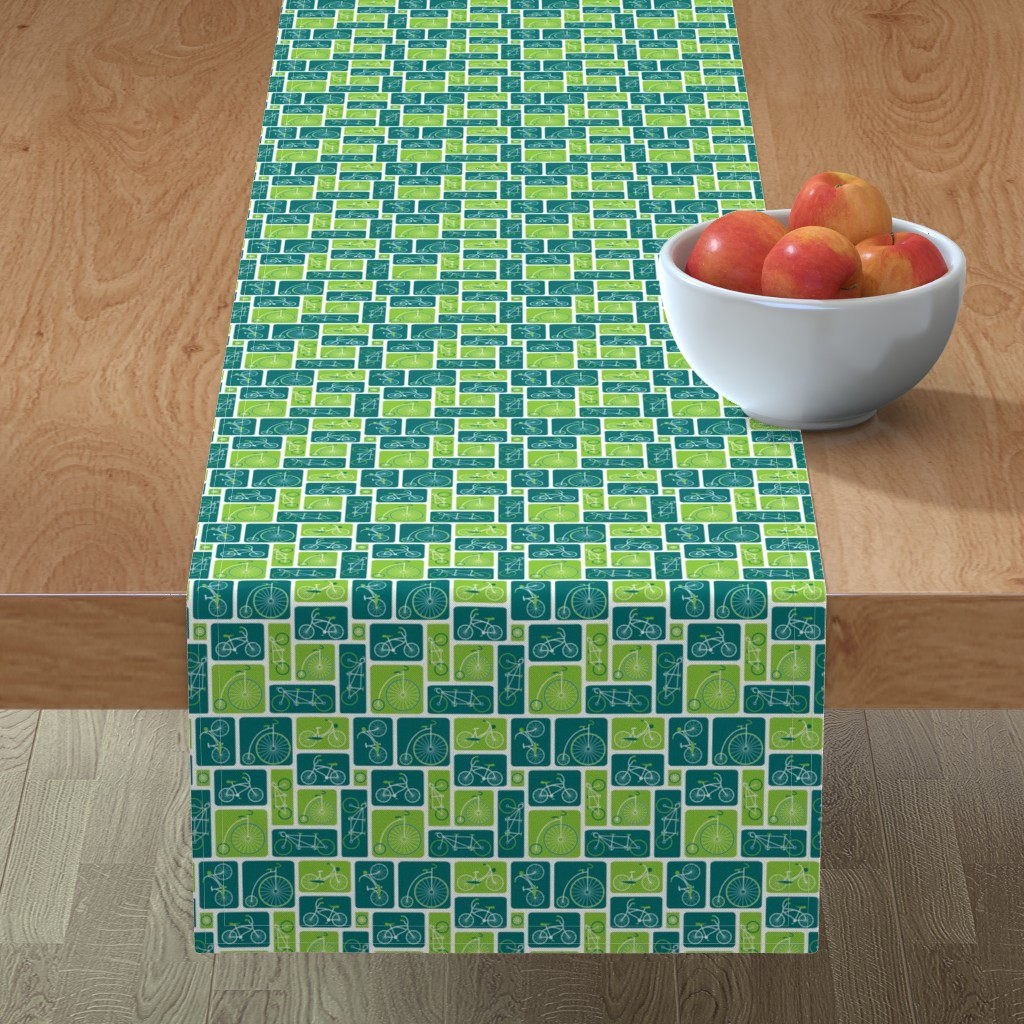 Minorca Table Runner featuring Retro green bicycle love by ebygomm