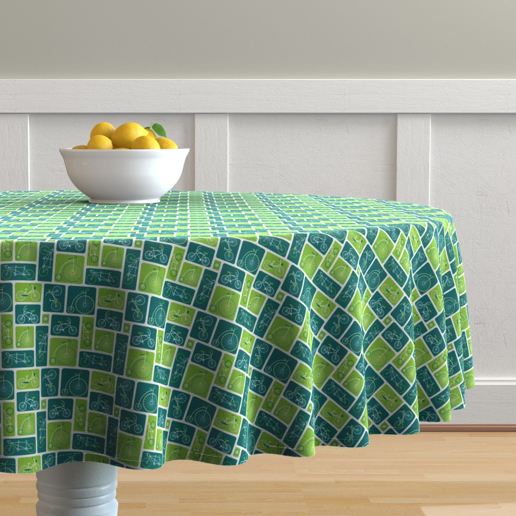 Malay Round Tablecloth featuring Retro green bicycle love by ebygomm