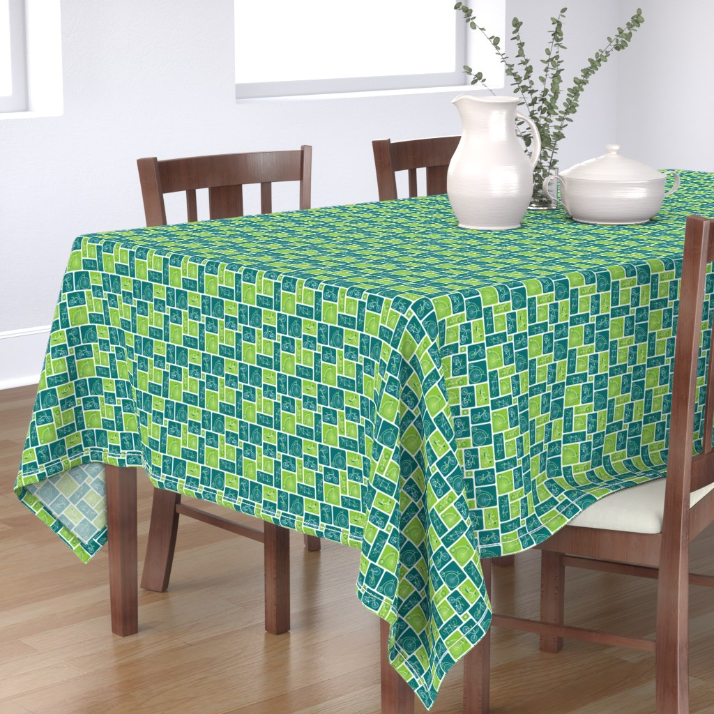 Bantam Rectangular Tablecloth featuring Retro green bicycle love by ebygomm