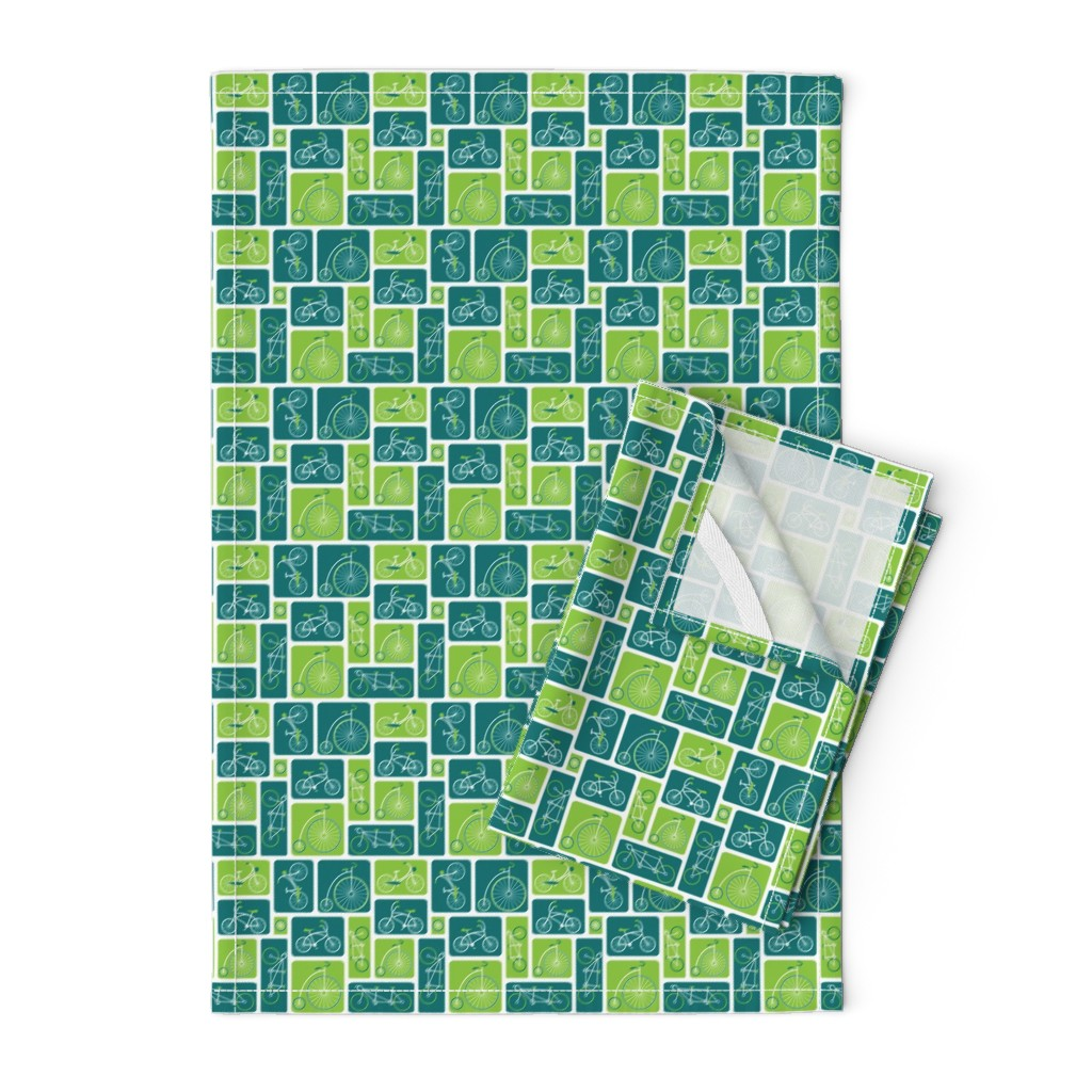 Orpington Tea Towels featuring Retro green bicycle love by ebygomm