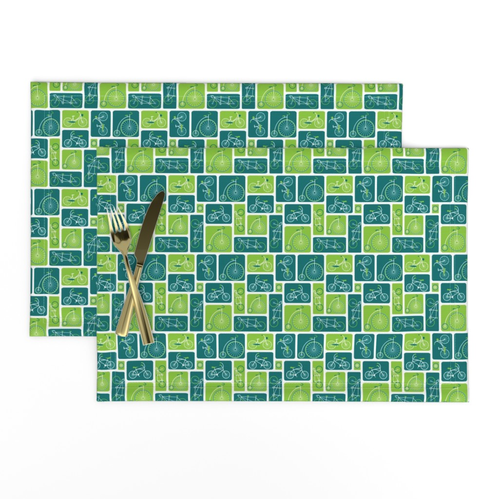 Lamona Cloth Placemats featuring Retro green bicycle love by ebygomm
