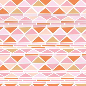 Abstract geometric triangles navajo indian style ethnic aztec design pink orange peach girls