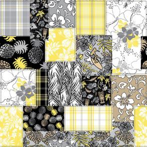 Aloha Patchwork Hawaiian Tropical Prints- Illuminating yellow and Ultimate gray