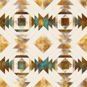 Copper rust linen modern patchwork
