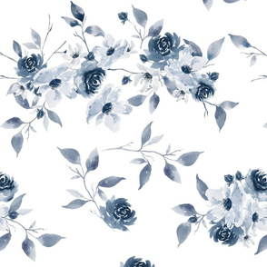 Blue Watercolor Florals