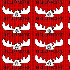 Hello Moose on red plaid