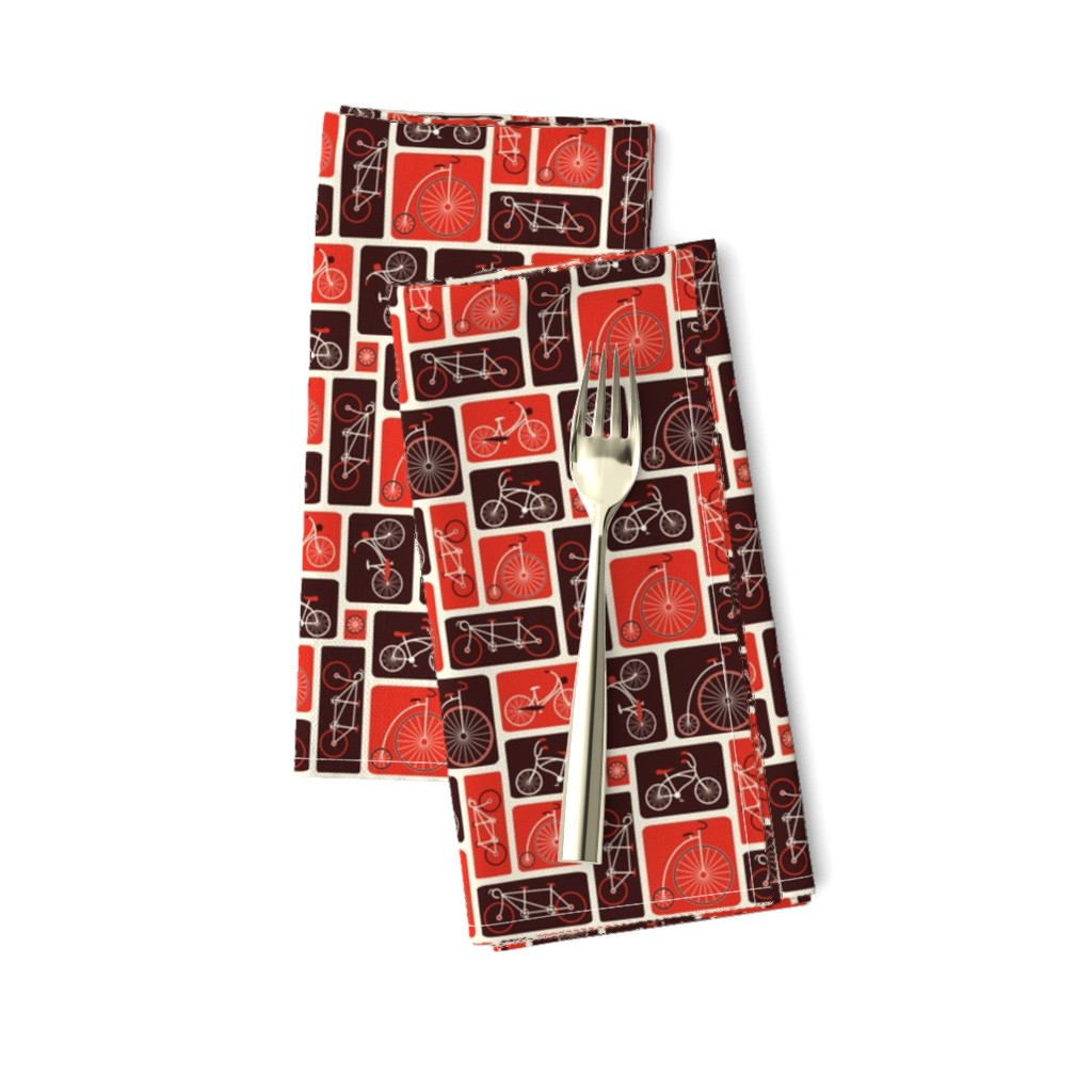Amarela Dinner Napkins featuring Retro Red Bicycle Love by ebygomm