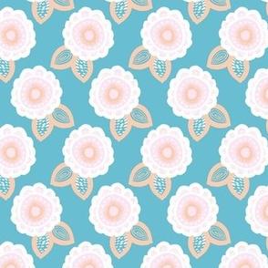 Romantic retro flowers boho summer blossom aqua blue peach pink white girls