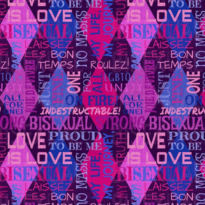 Bisexual Argyle -- MESSAGE *before purchase* FOR CUSTOM REQUESTS -  Subway Style Bisexuality Font Text Cloud over Harlequin Diamonds -- Pride Festival Celebration