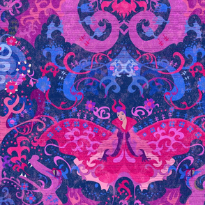 Bisexual Dragon Damask - MESSAGE *prior to purchase* FOR CUSTOM REQUESTS - Bi Flag Colors - Carnival Devil Butterfly Snake for Party, Prom, home decor -- Custom, Personalize