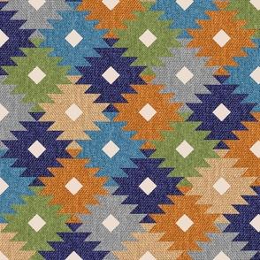 Aztec Patchwork burlap texture large diamonds rustic kilim Fabric