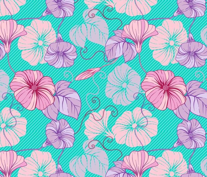 Flowers bindweeds on oblique stripes