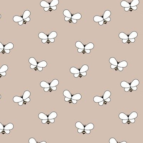Sweet boho bees minimalist spring summer insects beige latte