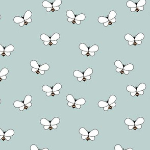 Sweet boho bees minimalist spring summer insects pastel blue mint