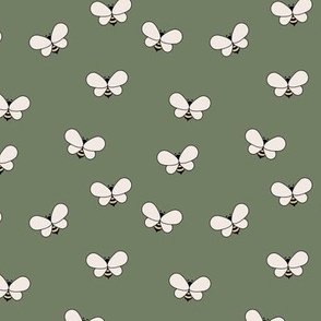Sweet boho bees minimalist spring summer insects olive green