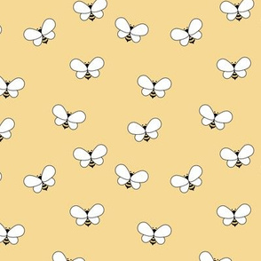 Sweet boho bees minimalist spring summer insects soft yellow